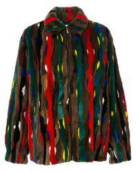 Marni Brown Stripe Patch Fur Bomber Jacket