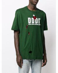 メンズ DIESEL Destroyed Tシャツ Green