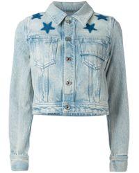 Givenchy Blue Star Print Bleached Denim Jacket