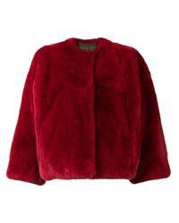 Yves Salomon Red Rex Rabbit Fur Jacket