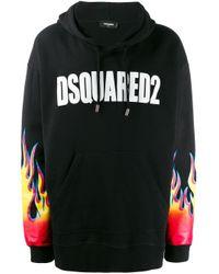 Sweat à capuche à logo imprimé DSquared² pour homme en coloris Black