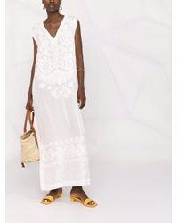 P.A.R.O.S.H. フローラル Vネックドレス White