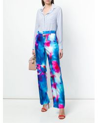 MSGM Blue Wide-leg Printed Trousers