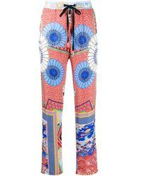 Pantalones de talle alto con motivos Pinko de color Blue