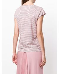 Theory - Red Linen Striped T-shirt - Lyst
