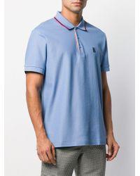 Polo à logo brodé Burberry pour homme en coloris Blue