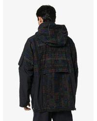 メンズ Sacai パネル フーデッドジャケット Blue