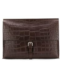 Orciani Brown Croc Embossed Leather Clutch for men