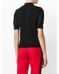 Carven | Black Knitted Crochet Sleeve Top | Lyst