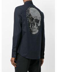 Philipp Plein - Black Skull Strass Diamond Cut Shirt for Men - Lyst