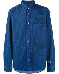MSGM Blue Printed Denim Buttondown Shirt for men