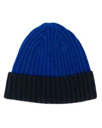 N.Peal Cashmere Blue Chunky Rib Contrast Hat for men