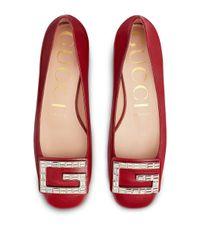 Gucci クリスタル スクエアg フラット パンプス Red