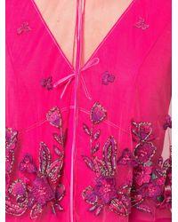 Marchesa notte シアーケープ イブニングドレス Pink