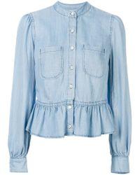 FRAME Blue Denim Rowan Peplum Shirt