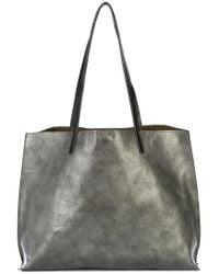 B May Gray Metallic Tote Bag