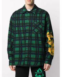 Camicia a quadretti con applicazione di Off-White c/o Virgil Abloh in Green da Uomo