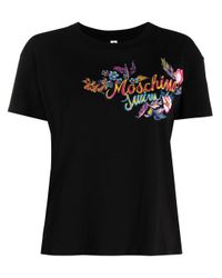 Moschino Black Floral Swim T-shirt