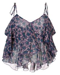 Anna Sui Blue Cropped Tank Top