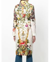 Etro White Floral-print Trench Coat