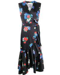 Tory Burch Black Floral-print Sleeveless Flounce Wrap Dress