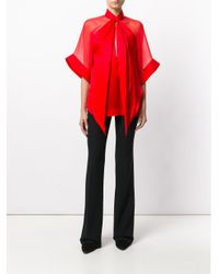 Givenchy Red Sheer Panel Blouse