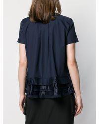 Sacai プリーツ レイヤードシャツ Blue