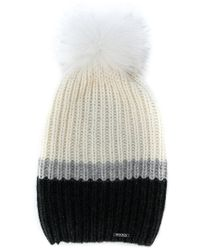 Woolrich White Ribbed Knit Cashmere Hat
