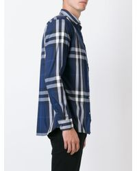 Burberry - Blue Checked Shirt for Men - Lyst