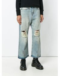 R13 Blue Distressed Wide-leg Cropped Jeans