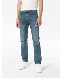 Givenchy Blue Slim-fit Destroyed Denim Jeans for men