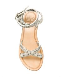 Fiorentini + Baker Gray Double Strap Studded Sandals