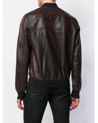 メンズ Philipp Plein ジップアップ レザージャケット Black