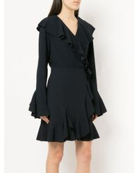 Goen.J - Blue Fluted Sleeve Ruffle Trim Wrap Dress - Lyst
