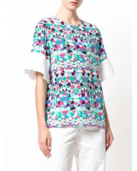 Emilio Pucci - Blue Pleated Trim Printed Top - Lyst