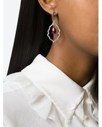 Loree Rodkin Black Diamond And Ruby Drop Earrings