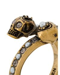 Кольцо С Двумя Черепами Alexander McQueen, цвет: Metallic
