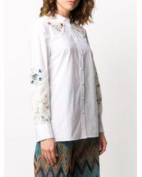 Рубашка С Цветочной Вышивкой Tory Burch, цвет: White