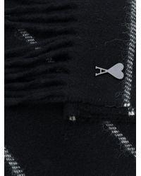 メンズ AMI ボーダー スカーフ Black