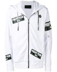 Philipp Plein White Logo Patch Hoodie for men