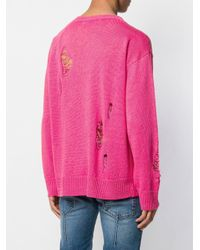 Maglione effetto vissuto di Paura in Pink da Uomo