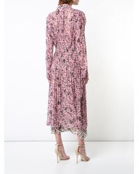 Cedric Charlier - Pink Floral Print Layered Dress - Lyst