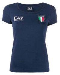 EA7 Blue T-Shirt mit Italien-Print