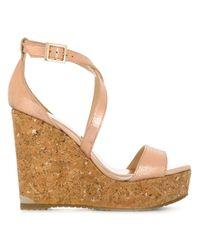 Jimmy Choo Metallic Portia Wedge Sandals