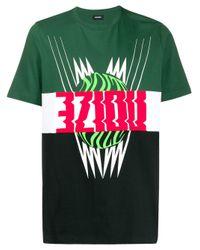 メンズ DIESEL カラーブロック Tシャツ Black