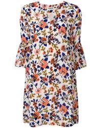 Essentiel Antwerp - White Floral Print Mini Dress - Lyst