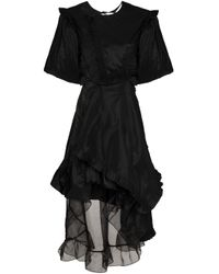 Preen By Thornton Bregazzi Black Puff-sleeve Mini Gown
