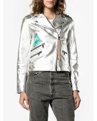 MIRA MIKATI - Whatever Painted Metallic (grey) Biker Jacket - Lyst