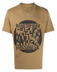 White Mountaineering Brown Graphic-print Crew Neck T-shirt for men