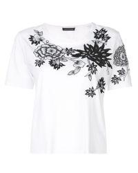 Natori White T-Shirt mit floralen Stickereien